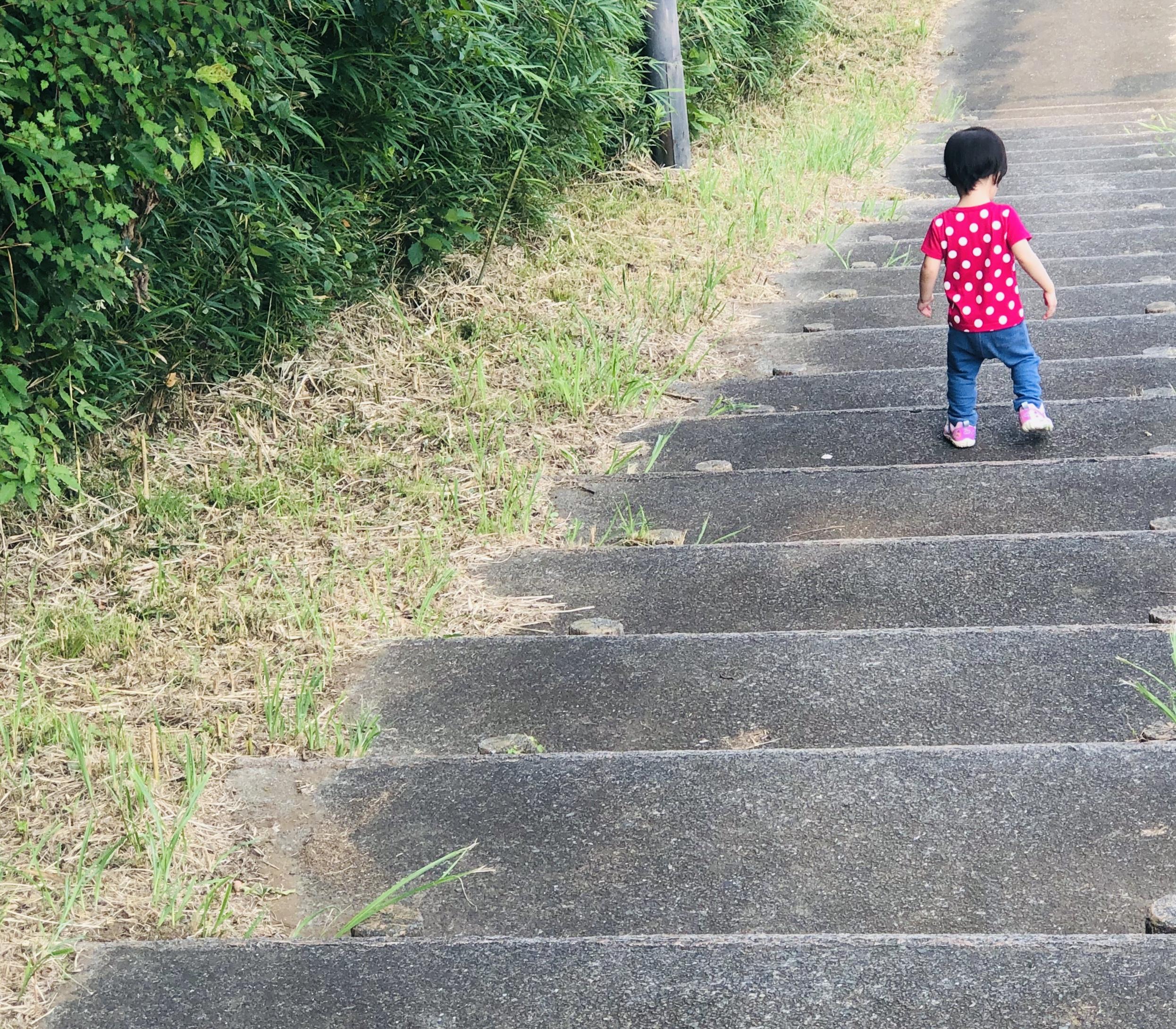 階段を降りる娘